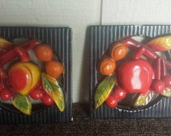 Vintage Chalk Ware Fruit Plaques