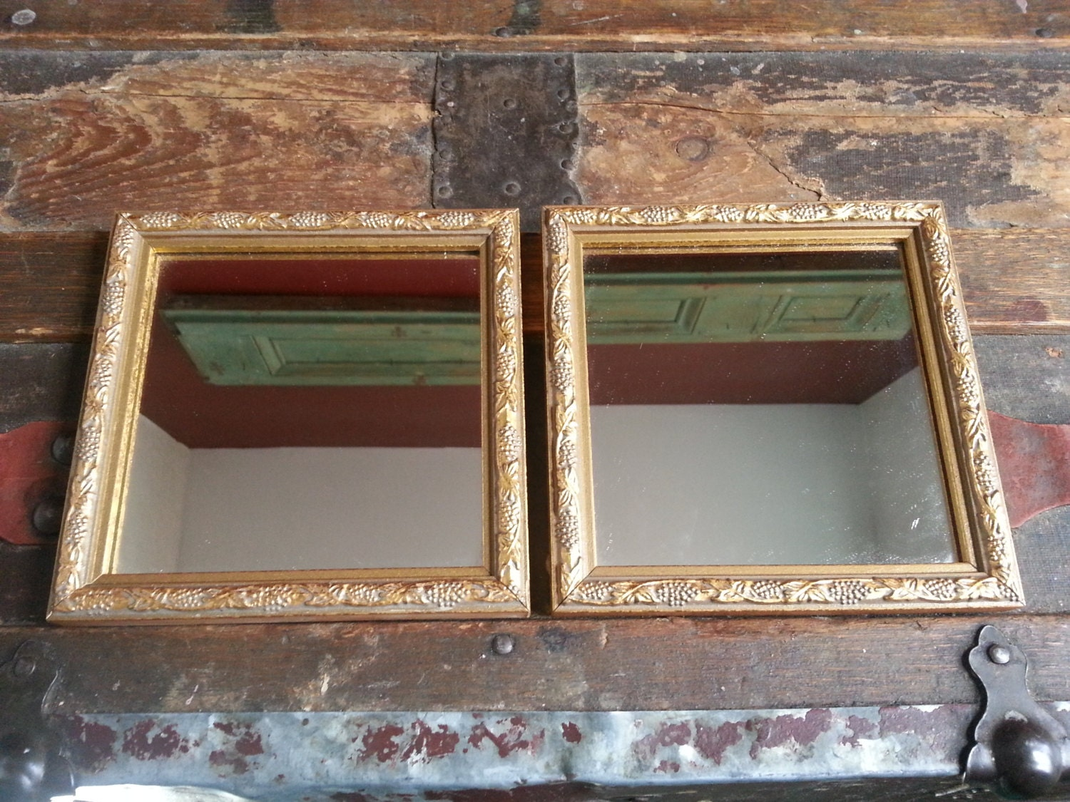 Vintage Set Of 2 Pair Square Home Interiors Gifts Homco Gold