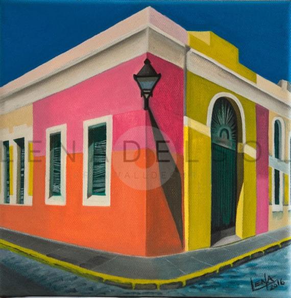 Old San Juan Wall Decor : Puerto rico art print old san juan acrylic painting