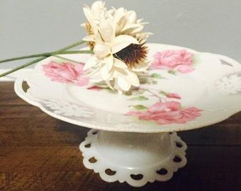 Beautiful Handmade Pink Rose German Antique Cake Stand, Cupcake Stand, Vintage Wedding, Elegant Shower.