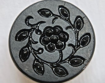 Black Glass Button with Floral Pattern