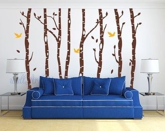Tree wall decals Birch tree forest wall mural Tree and birds wall sticker Large tree wall decal Birds wall mural Full tree wall decal-25