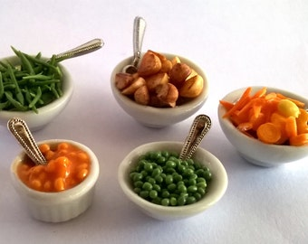 Dolls House Food  Miniature Food; 1:12 scale - China Serving Dish of Baked Beans;  Peas;  Carrots;  Fine Green Beans;