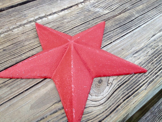 Red Country Wall Decor : Rustic red cast iron barn star country wall decor by