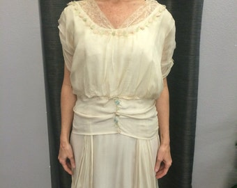 Handmade antique vintage ivory lace dress