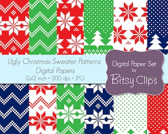 Ugly Christmas Sweater Patterns Digital Paper Set Commercial Use Clip Art INSTANT DOWNLOAD Christmas Scrapbook Paper