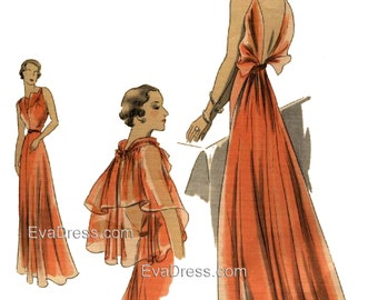 1937 Evening Gown, Slip & Cape EvaDress Pattern
