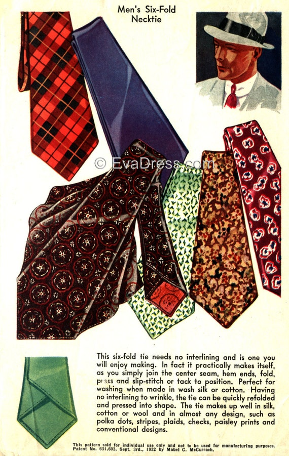 Men's Vintage Reproduction Sewing Patterns 1937 Six-Fold Neck Tie EvaDress Pattern1937 Six-Fold Neck Tie EvaDress Pattern $5.00 AT vintagedancer.com
