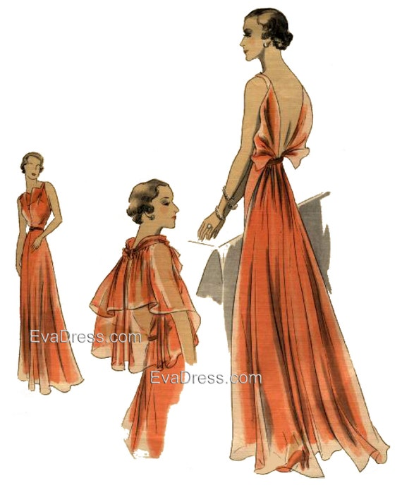 1930s Fashion Colors & Fabric 1937 Evening Gown Slip & Cape EvaDress Pattern1937 Evening Gown Slip & Cape EvaDress Pattern $35.00 AT vintagedancer.com
