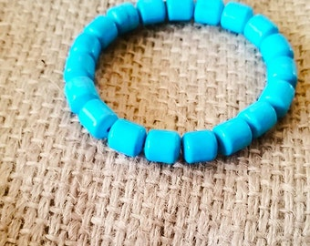 Blue Dyed Howlite Stretch Bracelet