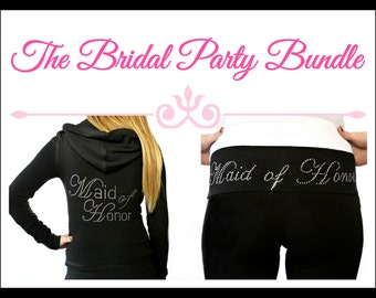 Bridal Party Hoodie and Yoga Pants. Maid of Honor Hoodie. Maid of Honor Yoga Pants. Bridesmaid Hoodie. Bridesmaid Yoga Pants.