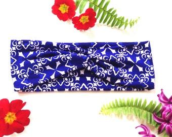 Royal Blue Turban Twist Headband Hair Wrap Abstract