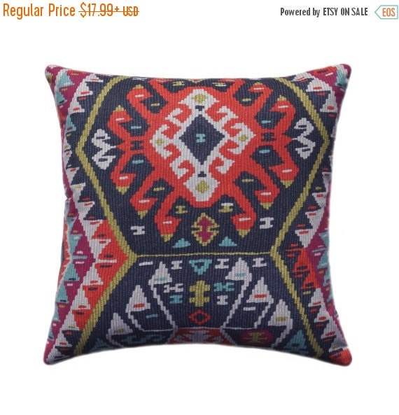 Kilim Pillow Cover Tribal Throw Pillow by ThePillowCoverStore