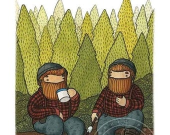 Digital Poster Beardy Bear Twins