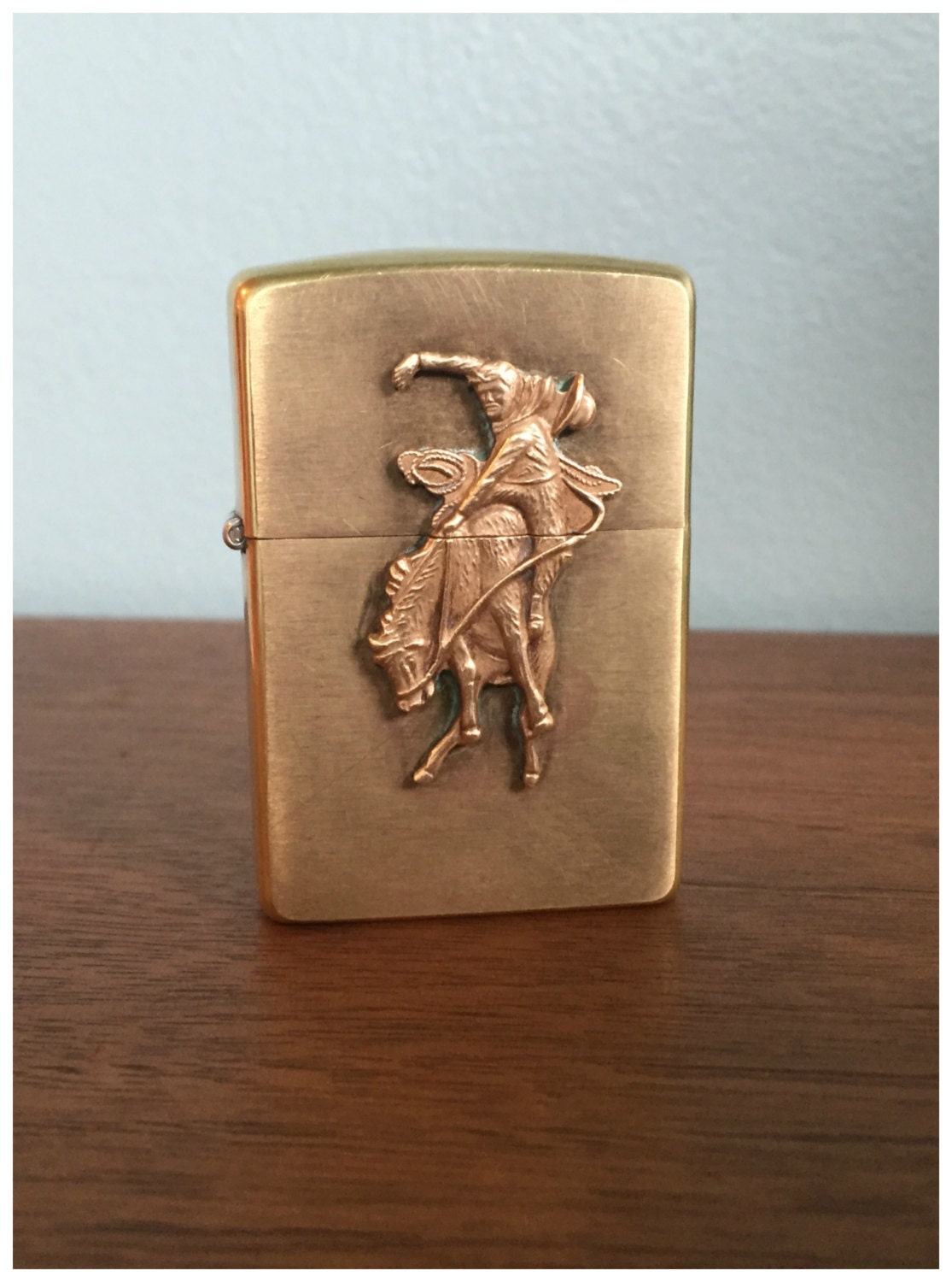 Vintage Zippo Marlboro Bucking Bronco Brass Lighter Working