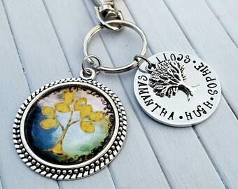 Tree of life keyring, family keyring, personalised keyring, personalized keyring, name keyring, hand stamped keyring, handmade keyring