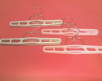 Vintage Plastic and Metal Pants or Skirt Clamp Style Hangers, Set of 4