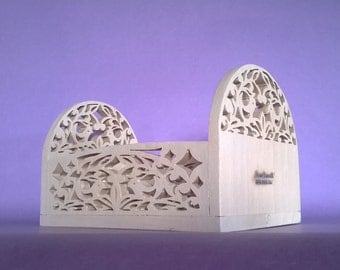 Wooden basket wood fretwork in solid pinewood handmade white ( Cod . CES001 )