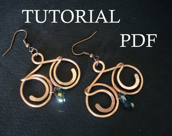 Wire Wrap Tutorial, Jewelry Tutorial, PDF lesson, Earrings Tutorial, Wire Earrings Tutorial, PDF Tutorial, Tutorial for Beginners, PDF