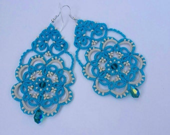 Blue earrings,  tatted earrings, lace earrings, tatting jewelry, summer earrings, lace jewery, tatted lace, turquoise