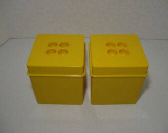Vintage Dansk Plastic Storage Containers Yellow Square Set of Two