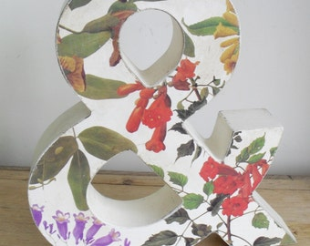 AMPERSAND 3D Floral Decoupage Ampersand Shabby Chic Decor Red & White Lilac Green Chalk Painted Letter Distressed Hand Painted One Off GIFT