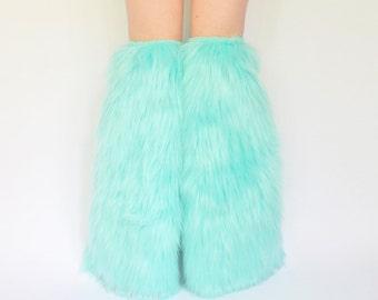 Mint Blue Boot Covers, Fur Legwarmers FREE SHIPPING: Furry Leg Warmers, Mint Blue Fluffies, Mint Green Fluffies, Mint Blue Rave Fluffies