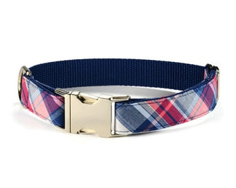 Americana Plaid Dog Collar, Preppy Dog Collar, Plaid Dog Collar, Tartan Dog Collar, Tartan Plaid, Male Dog Collar, Dog Gift