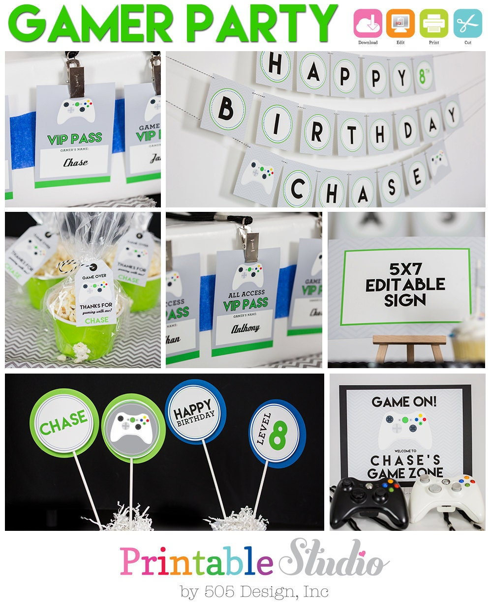 Video Game Party Decorations Instant Download Gamer Birthday