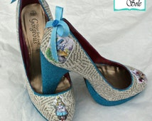 Custom Alice in Wonderland High Heel Glitter Decoupage Literary Shoes
