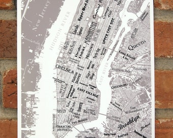 New York City Neighborhoods, Manhattan, New York Map, New York Art, Gray and White