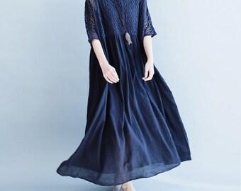 women knitting&linen loose dress/women leisure long dress/women spring dress/women blue dress/