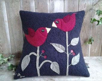 Romantic Love Birds kissing in the branches cushion