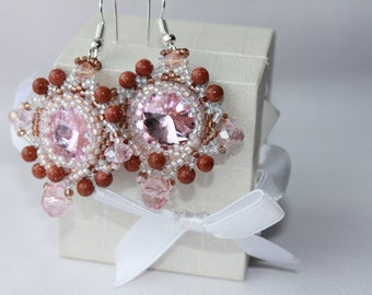 Valentines Day Gift Pink Earrings Bead woven Earrings Tender Earrings Sand stone Earrings Gift for her