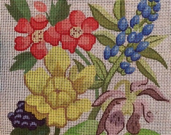 Bold Floral Handpainted Needlepoint Canvas