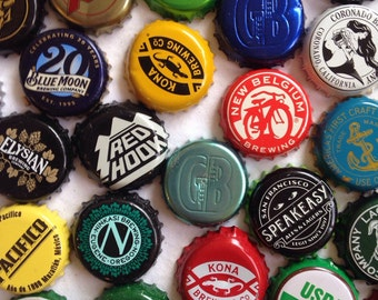 100 BEER BOTTLE CAPS // crafting  supplies craft beer micro brew microbrewery some slightly bent