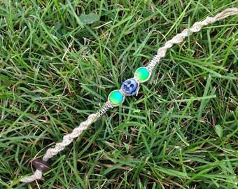 Lucky Blue Buddha Neon Hemp Macrame Bracelet