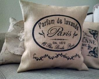 """Country French 16""""x16"""" Parfum de Lavande Burlap Pillow Cover"""