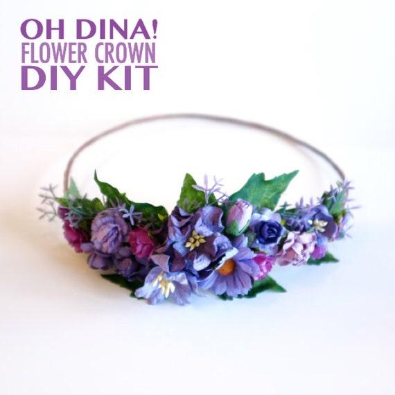 Purple Flower Crown DIY Kit Bachelorette By OhDinaFlowerCrowns