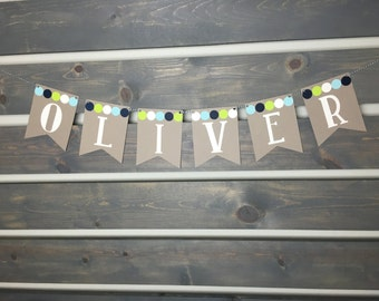 Custom Nursery Banner || Baby Boy || Baby Shower Banner || Baby Name Banner || Nursery Decoration || Baby Boy Decoration