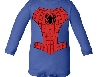 Spiderman Inspired Character Long Sleeve Onesie Infant Baby Newborn Onesie Creeper Crawler One Piece Bodysuit 100% combed ringspun cotton