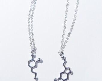 Dopamine Necklace, Serotonin Necklace, Dopamine Charm, Molecule Necklace, Science Necklace, Dopamine Jewelry, Serotonin , Science Jewelry
