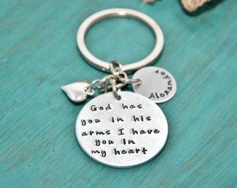 memorial key chain, God has you in his arms I have you in my heart, remembrance jewelry, key chain