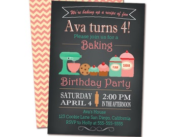 Chalkboard Baking Birthday Party Invitation - Cooking Party - Chef Party Invitation - Double Sided Printable invite