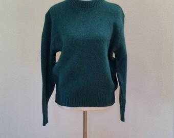 LL Bean Women's Pullover Sweater Green Blue Wool Nylon Size Large