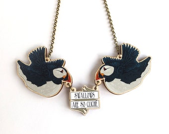 Swallows Are So Cliché! Puffin Tattoo Inspired Rockabilly Statement Lasercut Wood Necklace