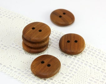 Natural wood buttons. Set of 6 organic applewood buttons size 1 in (25mm) - A4784