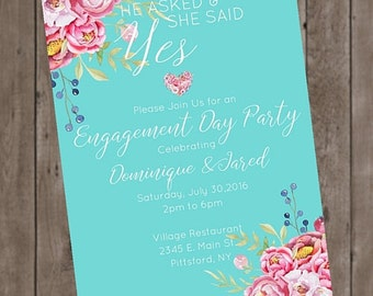 She Said Yes Floral Engagement Party Invitation Printable