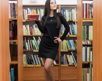 short classic dress / viscose dress / long sleeves /spring summer / handmade by Sarta designs / black dress