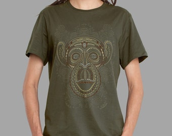 Psychedelic trippy men's tee for men in olive - TA MOKO -  festival clothing with glow in the dark ink.